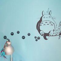 Бесплатная доставка милые виниловые наклейки на стену Kawaii аниме наклейки-Ghibli Totoro-Soot Sprites Wall Art Наклейки для аппликаций аниме украшения