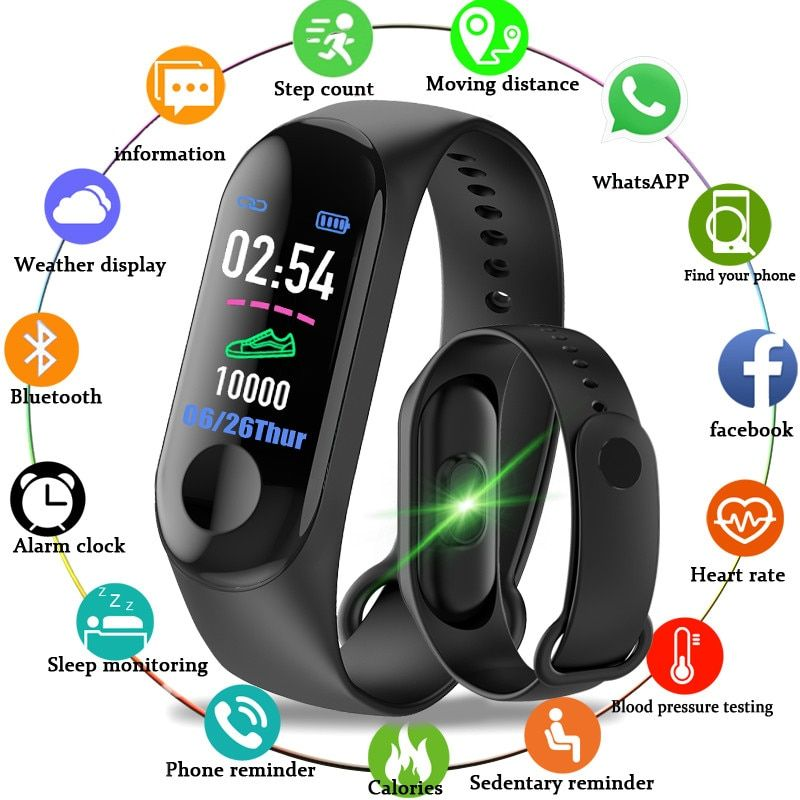 Men Women Smart Watches Sports Fitness Watch Color-screen Waterproof blood pressure Monitor Heart Rate Monitoring Pk mi band 3