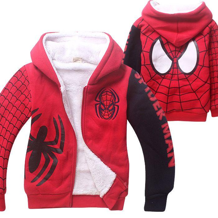 Nouveau Spider Man Cartoon enfants automne hiver Sport Hoodies épais manteau Double corail coton velours Zipper tenue pour 4-12 ans
