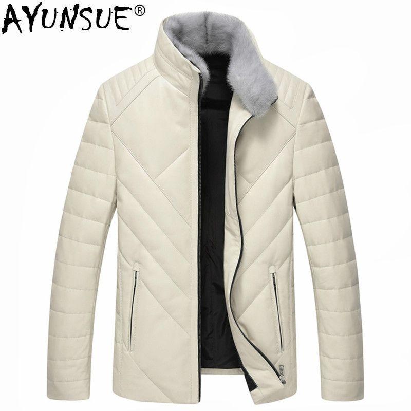 AYUNSUE Winter New Luxury Genuine Leather Coat Men Thick Warm Down Jacket Mink Fur Collar Outwear Clothes Sheepskin Coat LWL1072