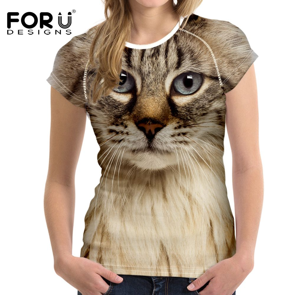 FORUDESIGNS noir 3D chat Animal femmes décontracté t-shirt marque vêtements femmes à manches courtes respirant t-shirt femme Fitness hauts