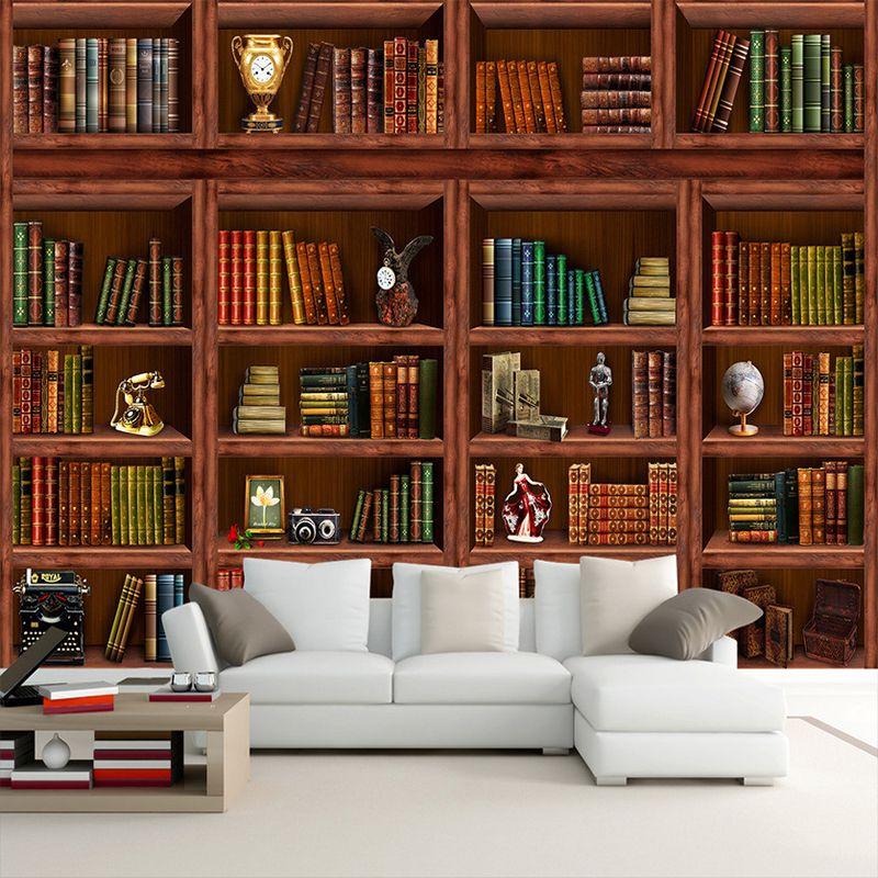 Custom Foto Tapete 3D Stereo Bücherregal Wandbild Wohnzimmer Bibliothek Decor Moderne Klassische Tapete Papel De Parede 3D Paisagem