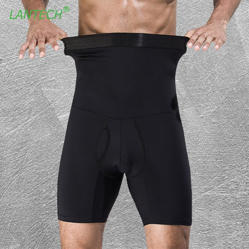 LANTECH Men Compression Shorts <font><b>Stomach</b></font> Shapers Bodybuilding Tight Underwear Boxers Running Box Exercise Fitness Gym Shorts