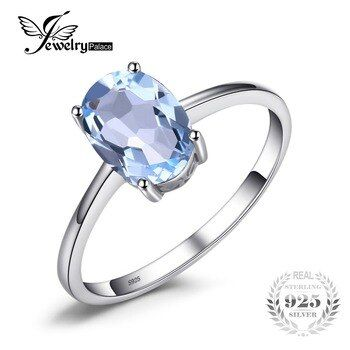 JewelryPalace Oval Solitaire 1.5ct Céu Azul Natural Topaz Birthstone Anel Sólido 925 Sterling Silver Fine Jewelry For Women Presente