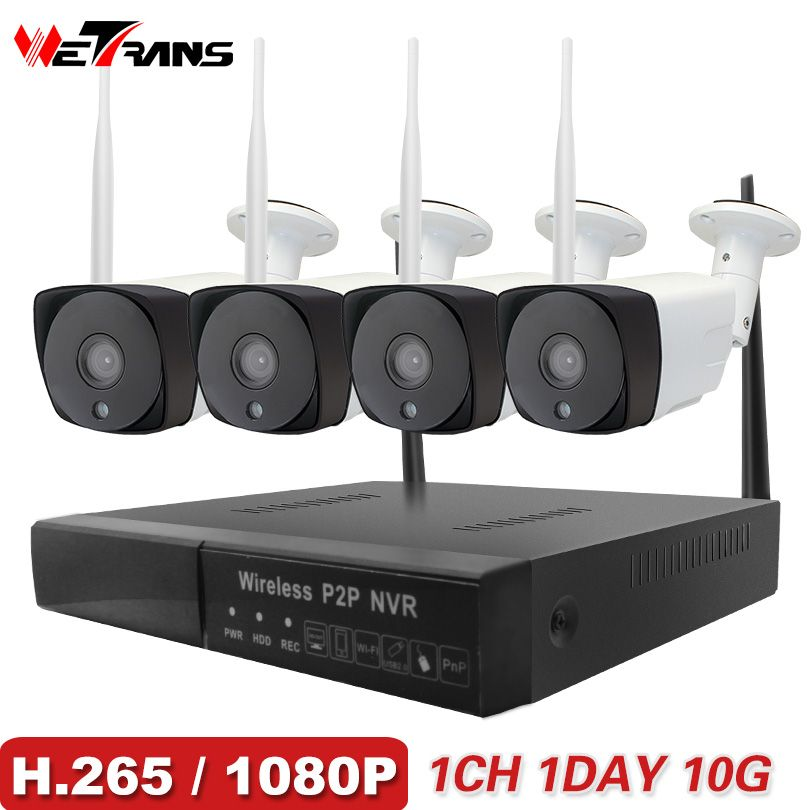 Wetrans CCTV System Wireless Camera Home Security 1080P HD H.265 Outdoor Waterproof Wifi IP Cam NVR P2P Video <font><b>Surveillance</b></font> Kit