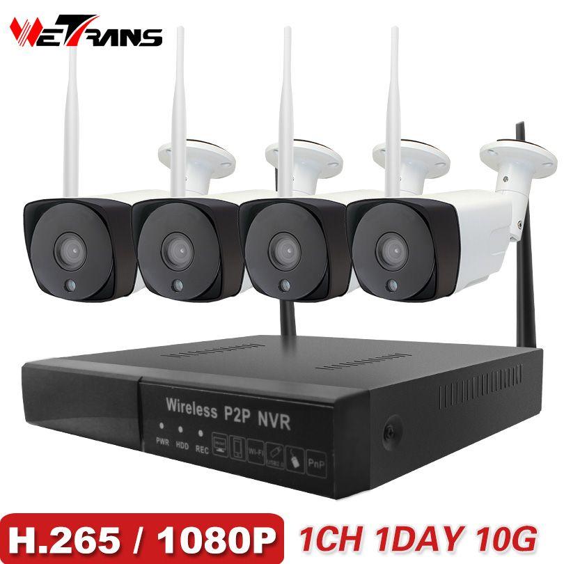 Wetrans système cctv Sans Fil caméra de sécurité à domicile 1080 P HD H.265 En Plein Air Étanche Wifi caméra ip NVR P2P Vidéo kit de surveillance