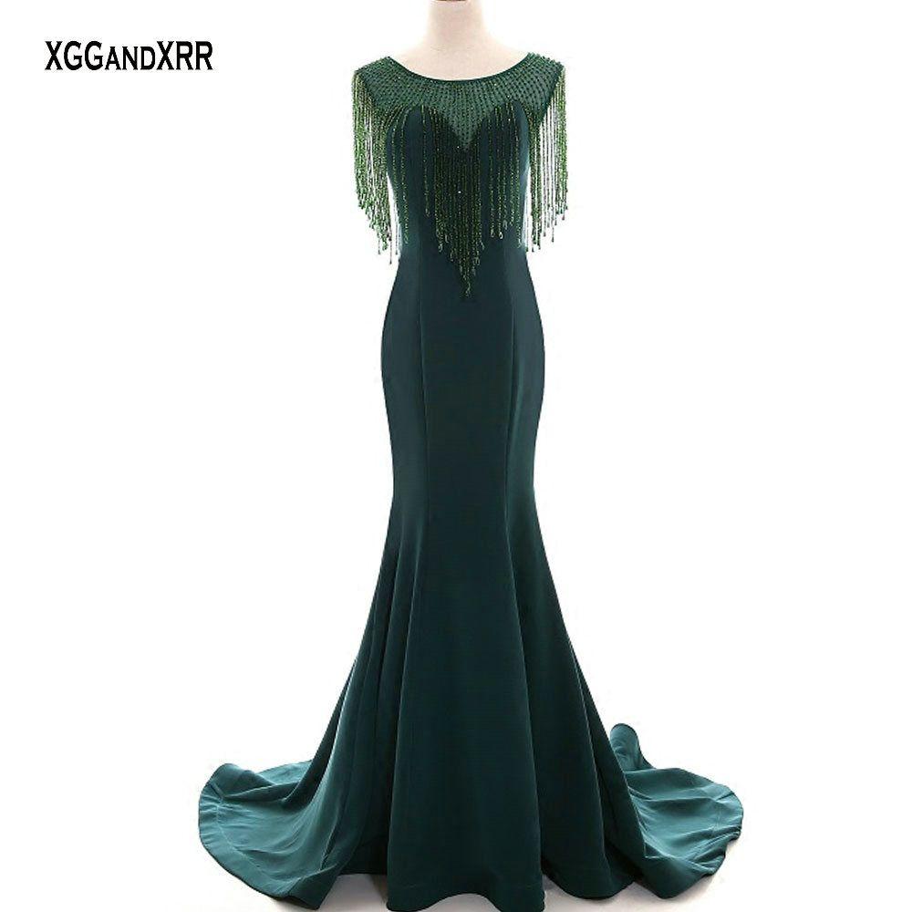 Luxus Dark Grün Kristall Quaste Mermaid Lange Satin Prom Kleid 2020 Luxus O Neck Illusion Abend Party Kleid Plus Größe kleid