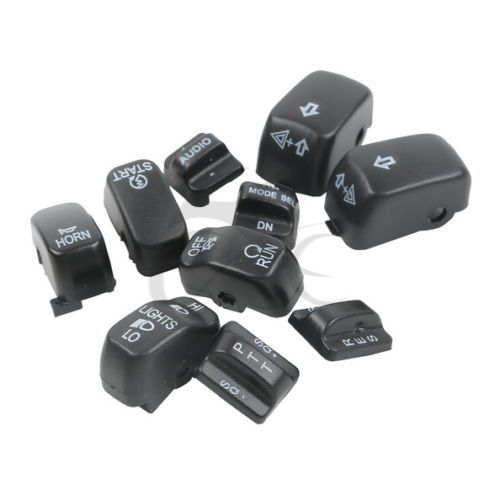 Black Hand Control Switch Housing Buttons Caps For Harley Touring Electra Glide SOFTAIL DYNA FLHT FLHX