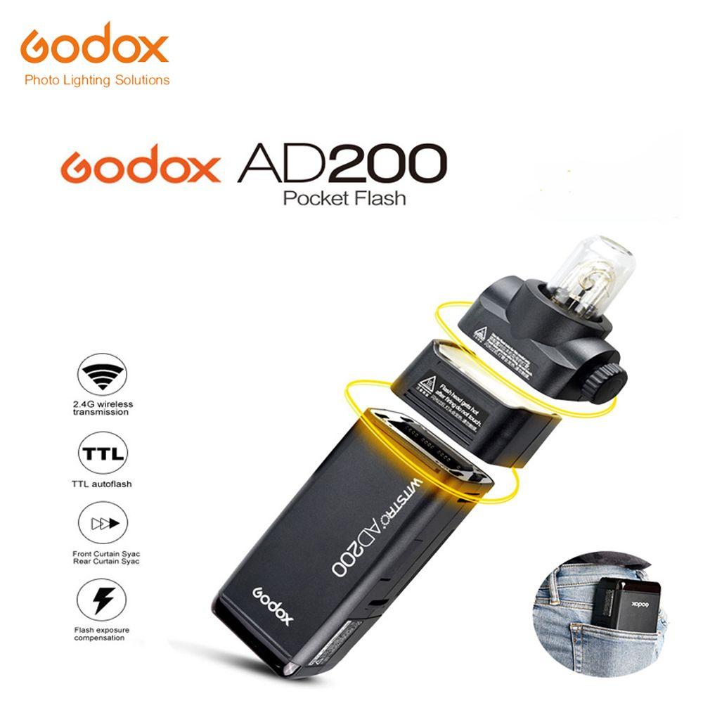 Free DHL 2017 New Godox AD200 Pocket Flash with 2 Light Heads GN52 GN60 200W Power 2.4G Wireless X System TTL HSS 1/8000s