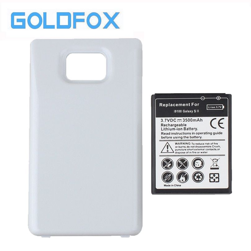 GOLDFOX 3500mAh High Quality Replacement Mobile Phone Battery For Samsung Galaxy S2 I9100 + White Back Case cover for GT-i9100