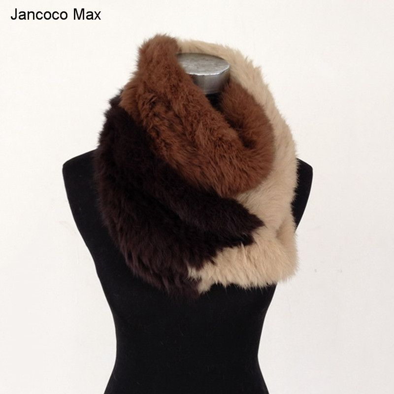 Jancoco Max S1474 Thick Knitted New Real Rabbit Fur Scarf Women Winter Warm Scarves Mixed Color