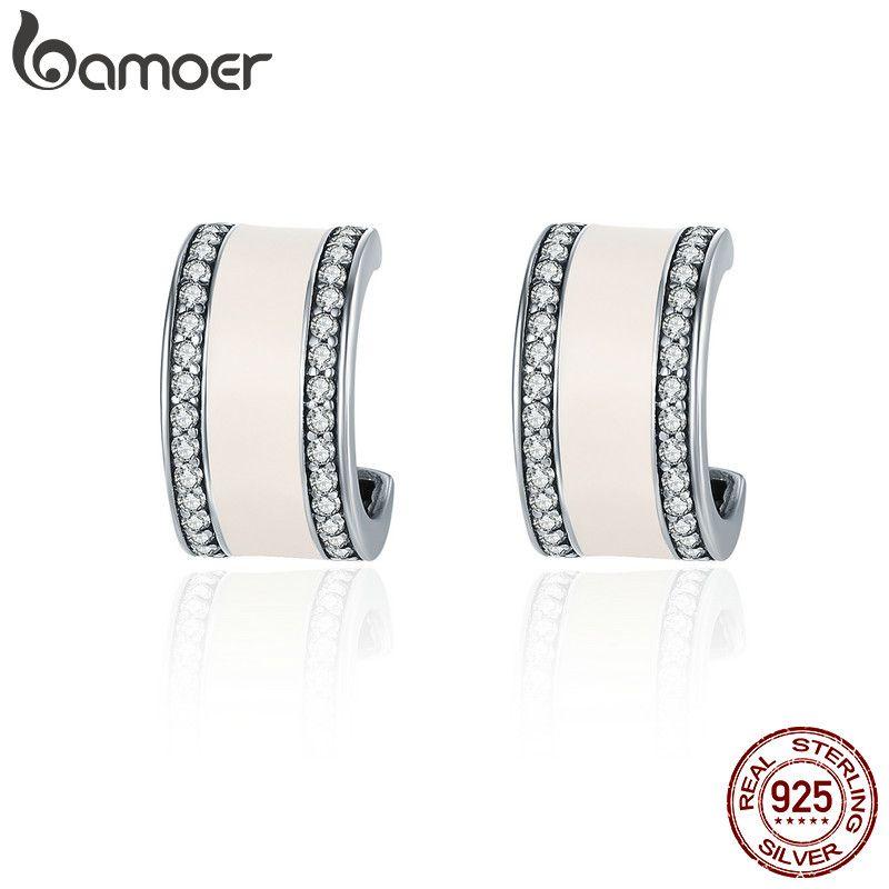 BAMOER 100% 925 Sterling Silver Pink Radiant AAA Cubic Zircon Stud Earrings for Women Fashion Earrings Jewelry Gift SCE260