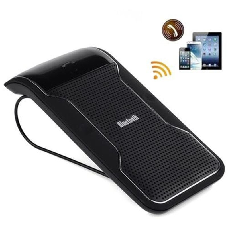 New Wireless Black Bluetooth Handsfree Car Kit Speakerphone Sun Visor Clip 10m Distance For iPhone Smartphones with Car Charger