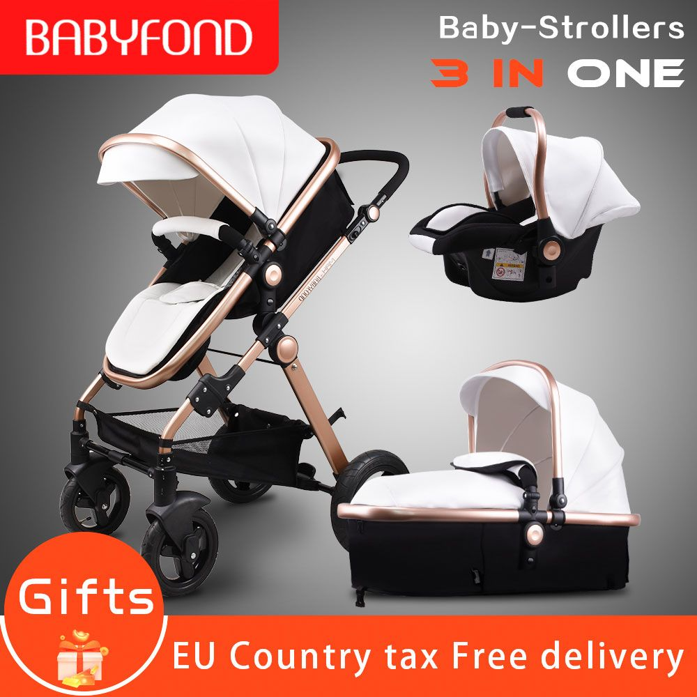 Golden Baby stroller high landscape baby cars PU material 3 in 1 stroller with car seat 2 in 1 baby car pram CE safety Babyfond