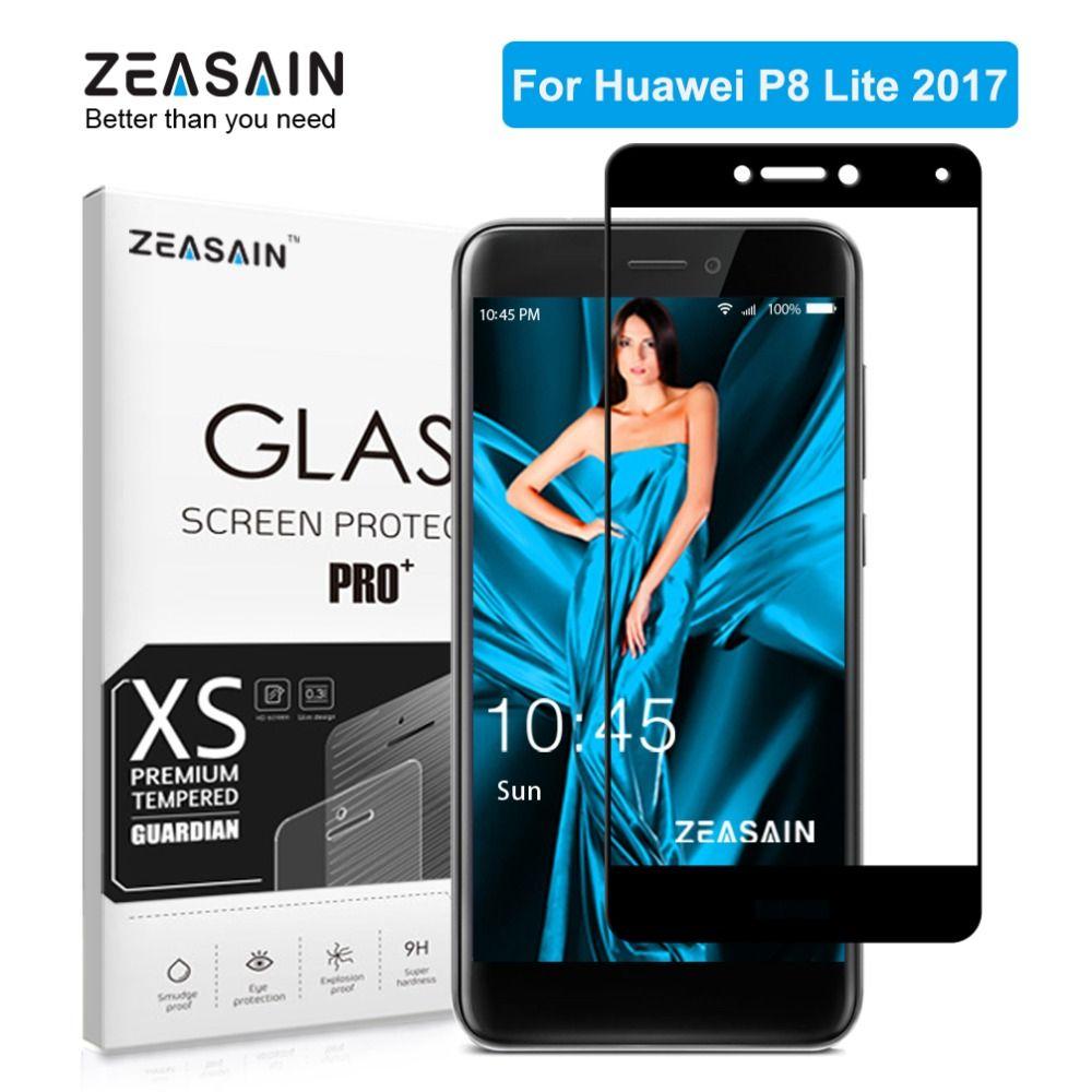 Original ZEASAIN Cubierta Completa de Vidrio Templado para el Huawei P8 Lite P8Lite 2017 Protector de Pantalla 2.5D 9 H Vidrio Templado De Seguridad película