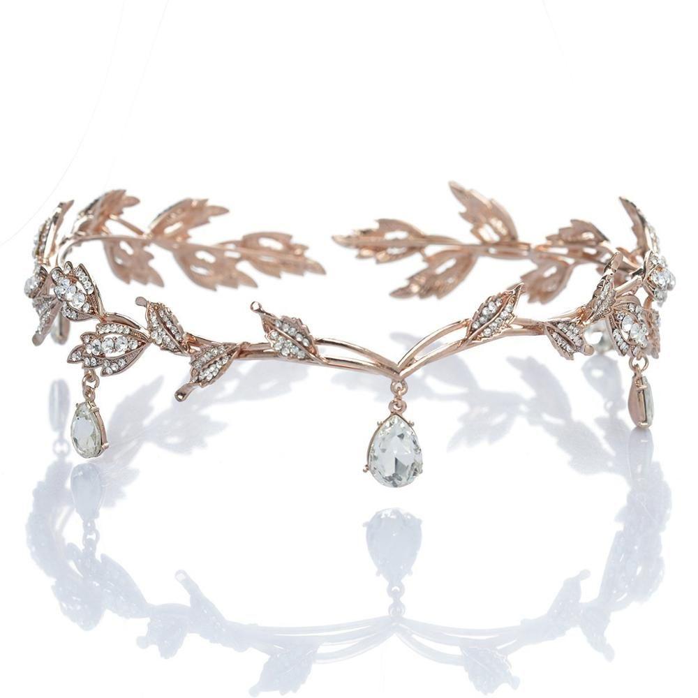 Cristal couronne mariée cheveux accessoire mariage strass goutte d'eau feuille diadème couronne bandeau Frontlet demoiselle d'honneur cheveux bijoux