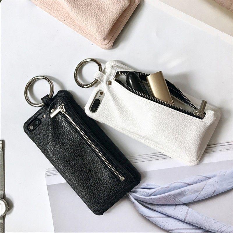 Litschi Muster Pu-leder Zipper Wallet Fall mit Kreis Ring für iPhone 7 7 plus Capas für iPhone 6 6 plus 6 s 6 splus 8 8 plus X