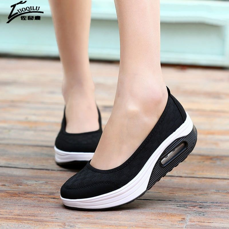 2018 женская повседневная обувь дышащая женская обувь на платформе лианы женский Туфли без каблуков для похудения Обувь Mujer большой размер 41