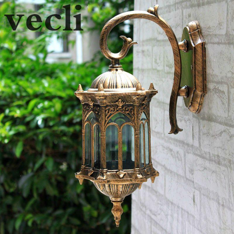 Populaire rétro mur extérieur lumière favorable l'europe villa applique lampe étanche extérieur jardin porte éclairage