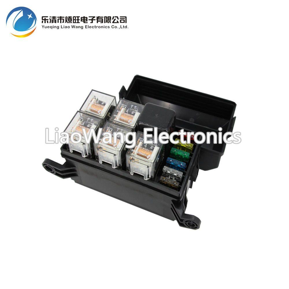 6 Way Auto fuse box assembly with 1PCS 4P 12V 40A+5PCS 5Pin 24V 40A relay Auto car insurance tablets fuse box mounting fuse box