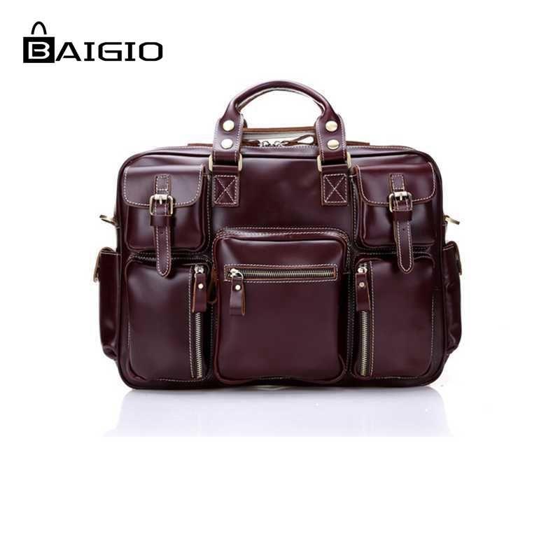Baigio 2 Couleurs Hommes En Cuir Voyage Sac Grande Capacité Main bagages Sac Vintage Style Rouge Designer Sac Épaule et Bandoulière sac