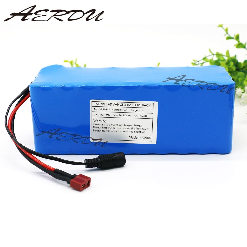 AERDU 36V 10S4P 10Ah 500W High power∩acity 42V 18650 lithium battery pack ebike electric car bicycle motor scooter with BMS