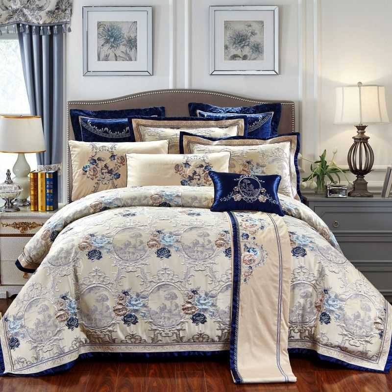 Luxury wedding style silk satin cotton jacquard bedding sets Queen/King size 4/6/9pcs sets bedspread in bag golden linens