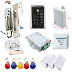 RFID Access Pengendali Sistem Perlengkapan Bingkai Kusen Pintu Kaca + Elektrik Bolt Pintu Mengunci + Identitas Kartu Keytab + Daya suplai + Tombol Keluar + Bel Pintu
