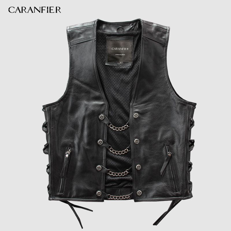 CARANFIER Mens Genuine Leather Rock Vests Metal Chain Biker Vest Motorcycle Sleeveless Real Leather Jackets DHL Free Shipping