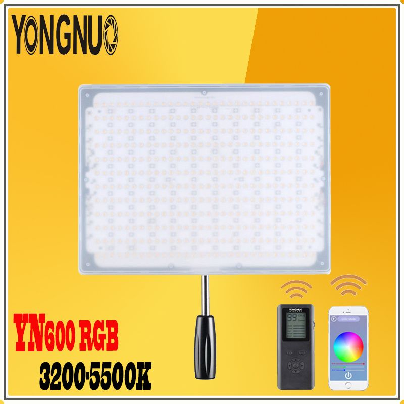 YONGNUO YN600 RGB LED Video Light 3200K-5500K Bi-color Temperature & Adjustable Brightness For Camcorder Camera and SLR Camorder