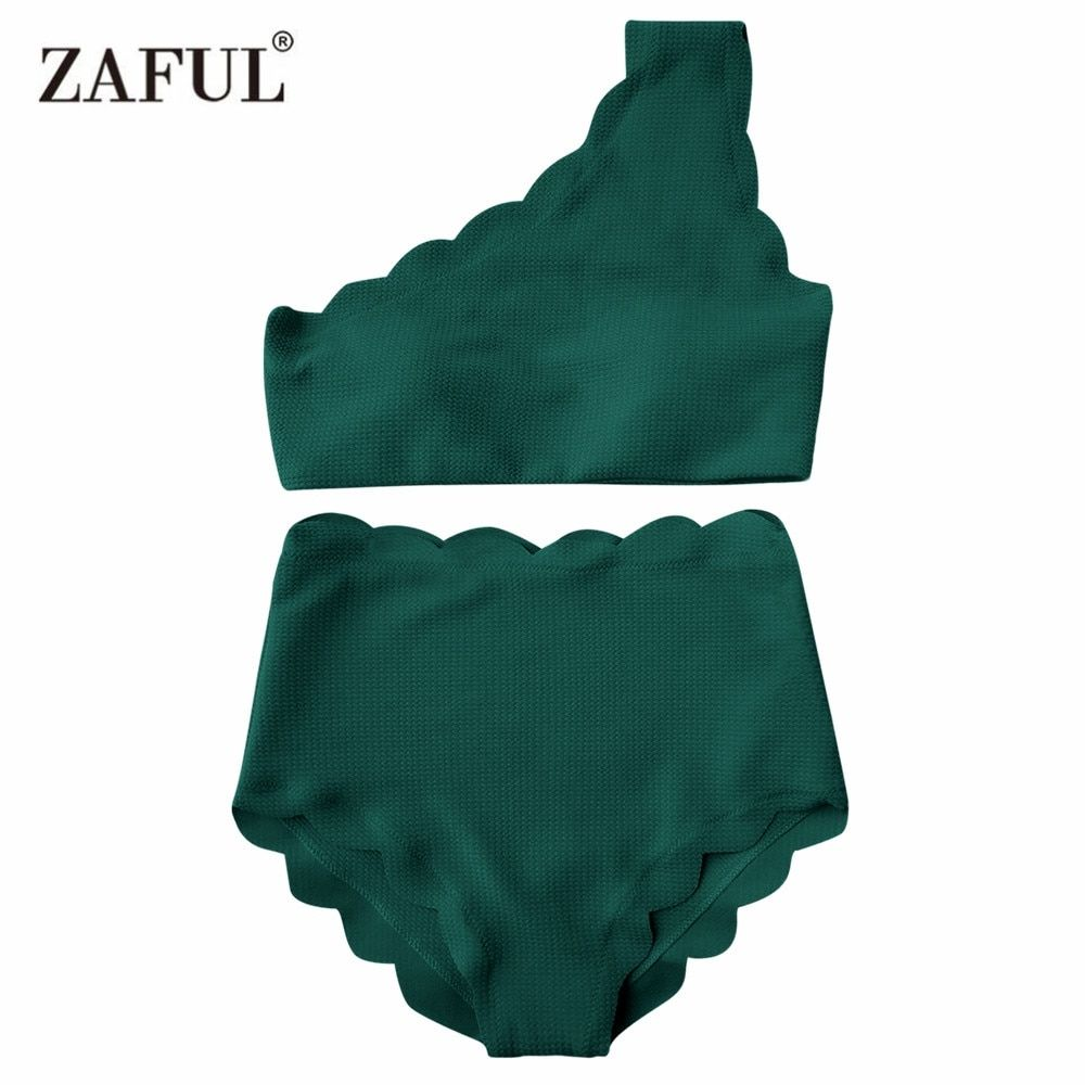 Zaful One Shoulder Woman Bikini Set 2017 Scalloped Swimwear <font><b>Wave</b></font> Edge Women Swimsuit Biquinis Bathing Suits Maillot De Bain