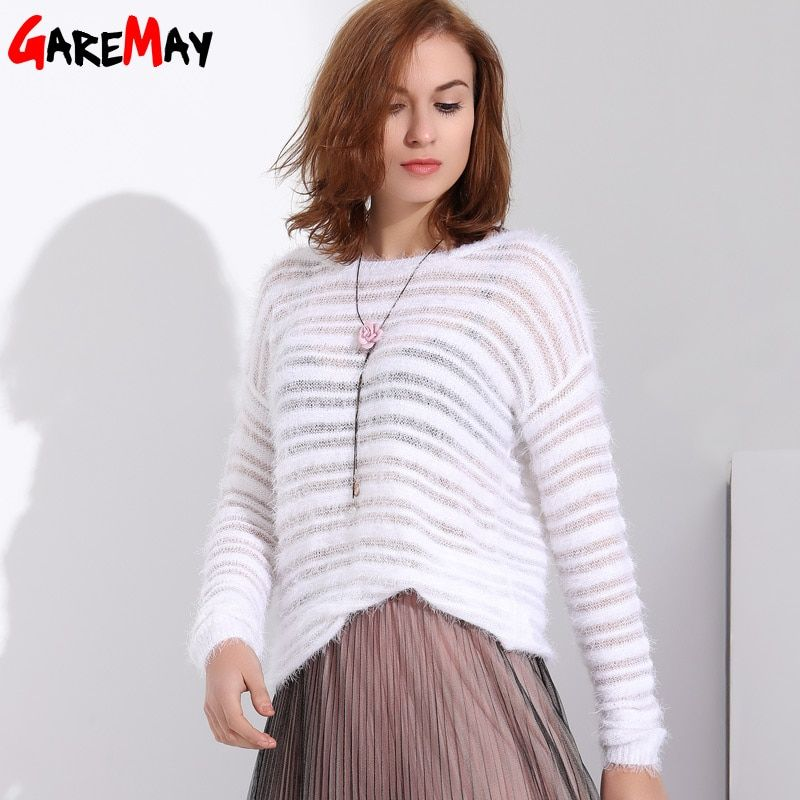 Garemay Mohair Pullover Sweater Woman Knitted Sweaters Long Sleeve Loose O-Neck Hedging Female Sweater Pullover <font><b>Pull</b></font> Femme