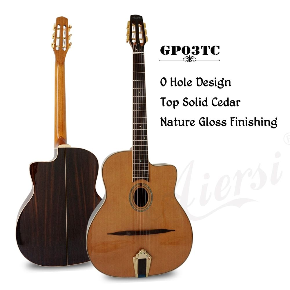 Aiersi Brand Oval Hole Petit Bouche Solid Cedar Top Django Jazz Gypsy Guitar With Free Guitar case and strap