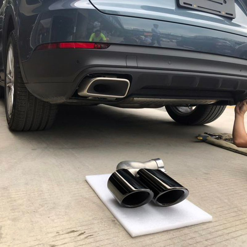 for Porsche Cayenne 2018 2019 Car Styling Exterior Tail Throat Rear Round Exhaust Muffler Pipe Tip Vehicle Modification Cover 2*