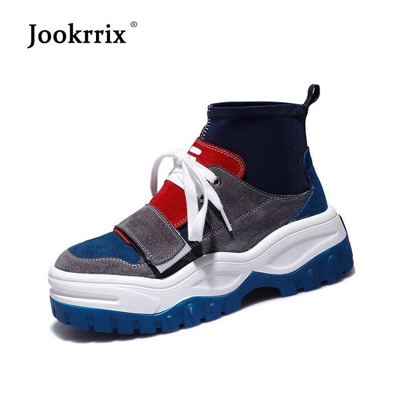 Jookrrix Pu En Cuir Chaussures Femmes Marque De Mode High Top Sneaker Dame chaussure Automne Femelle chaussures Respirant Fille Noir Chaussures