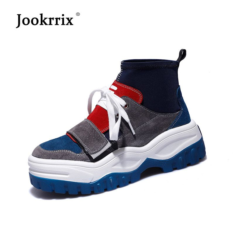 Jookrrix Pu Leather Shoe Women Fashion Brand High Top Sneaker Lady chaussure Autumn Female footware Breathable Girl Black Shoes