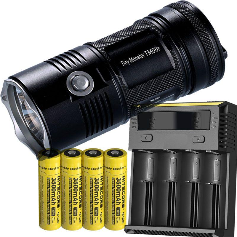 NITECORE TM06S LED Taschenlampe CREE XM-L2 U3 LED max. 4000 lumen strahl abstand 359M + 4*3500 mAh batterien + Neue I4 Ladegerät