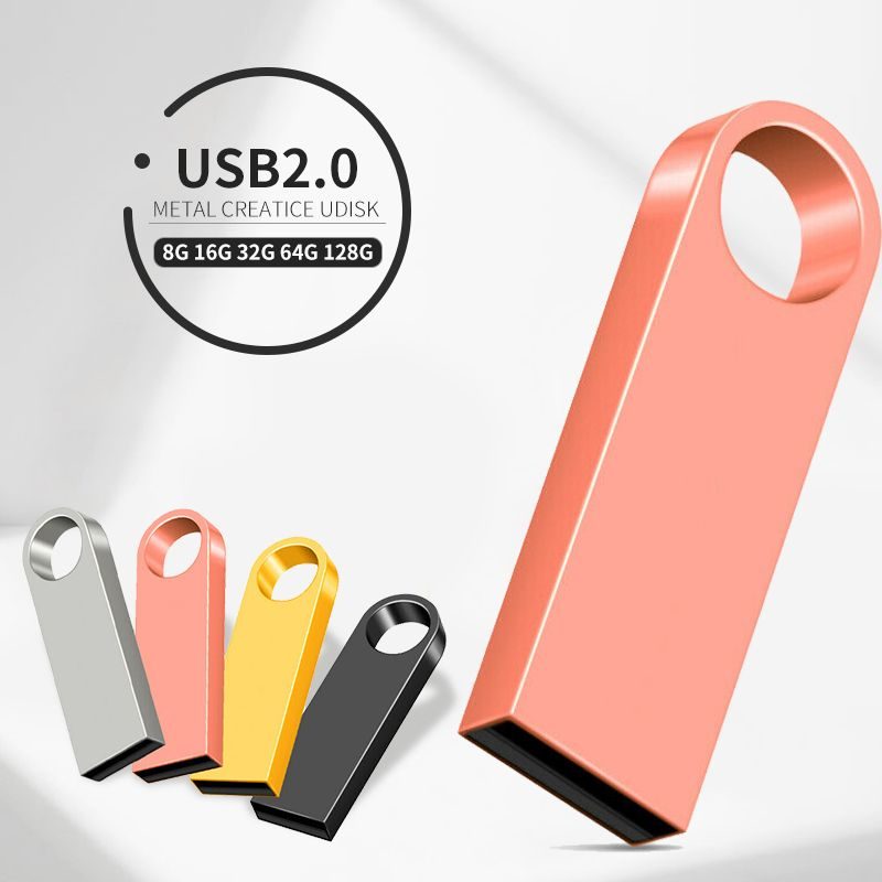 Metal Mini USB Flash Drive 128GB 64GB 32GB pendrive Cle USB Flash Stick Pen Drive 32 64 128 GB USB Stick Custom LOGO
