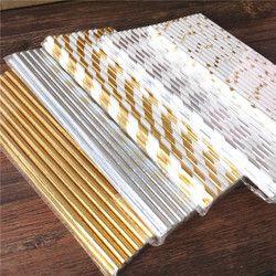 25pcs  Metallic Gold heart star Foil Stripe Paper Straws Gold Foil Stripe Paper Straws Silver Foiled stripe chevron