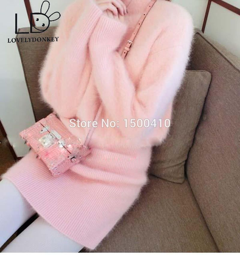 LOVELYDONKEYgenuine mink cashmere sweater women  cashmere pullovers knitted  dress Customized color free shippingM696