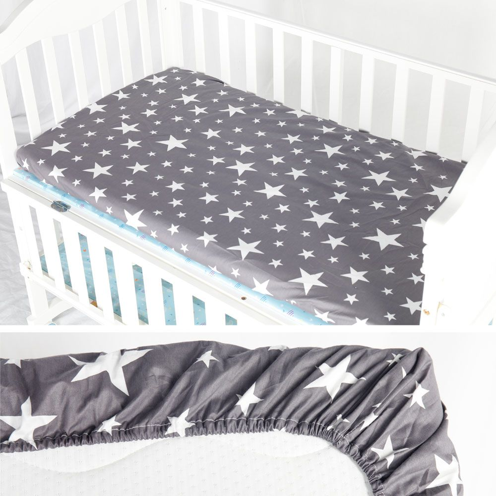 AINAAN 100% Cotton Crib Fitted Sheet Soft Baby Bed Mattress Cover Protector Cartoon Newborn Bedding For Cot Size 130*70cm