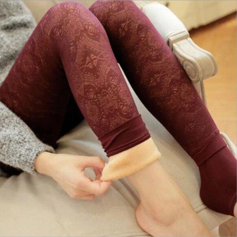 Rihschpiece Warm Winter Leggings Women Velvet Thick High Waist Christmas Leggins Pants Plus Size Women Legging RZF763