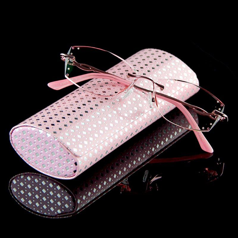 Luxury Rhinestone Reading Glasses Women Diamond Cutting Rimless Glasses High Clear Women's Pink Readers Presbyopic Eye Glasses