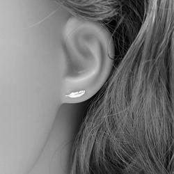 1pair Real. 925 Sterling Silver angel wings Bird Feather Stud Earrings for Women Girls Sterling-Silver-Jewelry GTLE1156