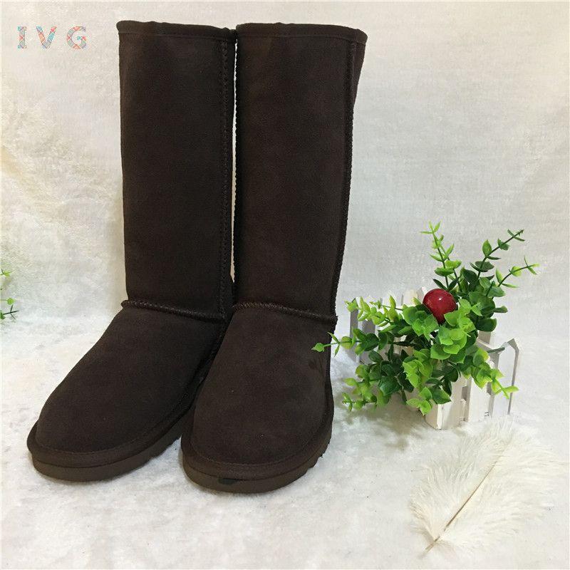 Chaud australien femmes unisexe hautes bottes de neige imperméable à l'eau hiver en cuir bottes longues marque IVG chaussures de plein air taille EU 35-45