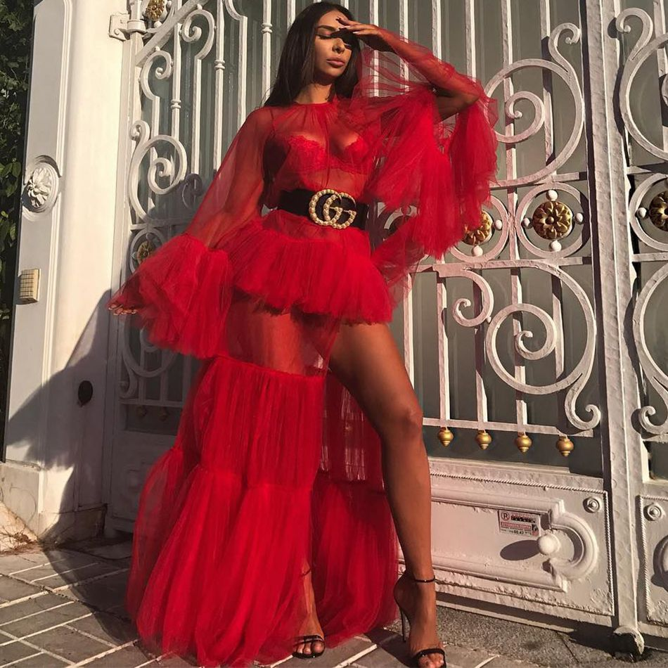 Newest Celebrity Party Women Long Dress Red Flare Sleeve O-Neck Split Sexy Night Out Maxi Dress Women Vestidos
