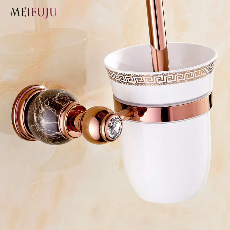 European style Marble Toilet Brush Holder Rose Gold Plated White Jade Toilet brush Bathroom Products Bathroom useful for bath