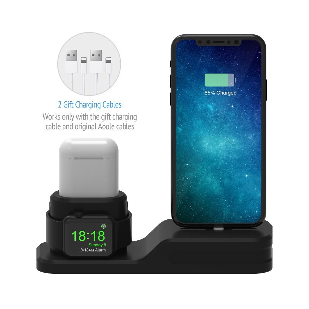 3 in 1 Charging Dock Holder For Apple watch/Airpods Silicone charging stand Station For IphoneX/Iphone8p/Iphone7plus/Iphone6/5se