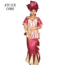 AFRICAN DRESSES FOR WOMEN DASHIKI DRESSES AFRICAN BAZIN RICHE EMBROIDERY DESIGN DRESS WITH RAPPER