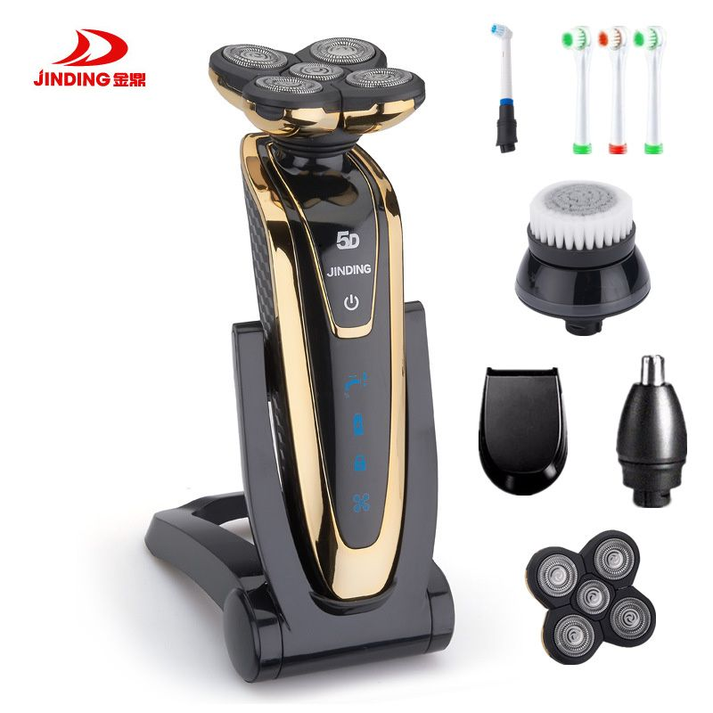 JINDING Rechargeable Whole Body Washing Electric Shaver 5D Floating Head Shaving Machine for Men Waterproof Electric Razor
